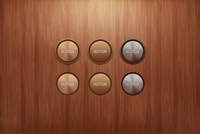 Metal texture round button on wooden background
