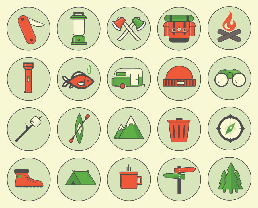 Camping Outdoor Icons