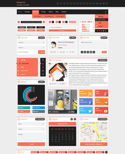 Flat Web Theme UI Kit Psd File