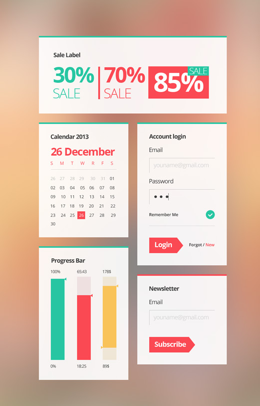 Colorful eCommerce UI Elements Kit