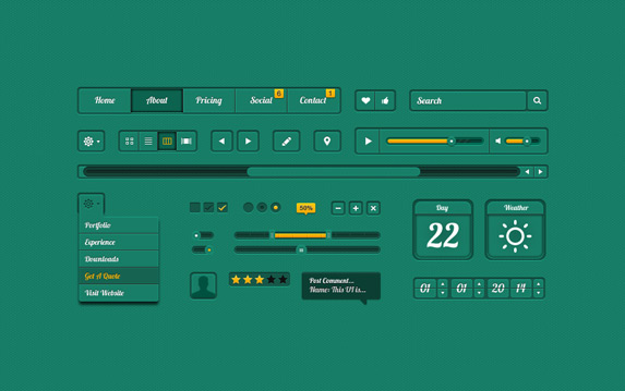 Green UI Design psd file