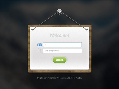 Bokeh wooden sign user login