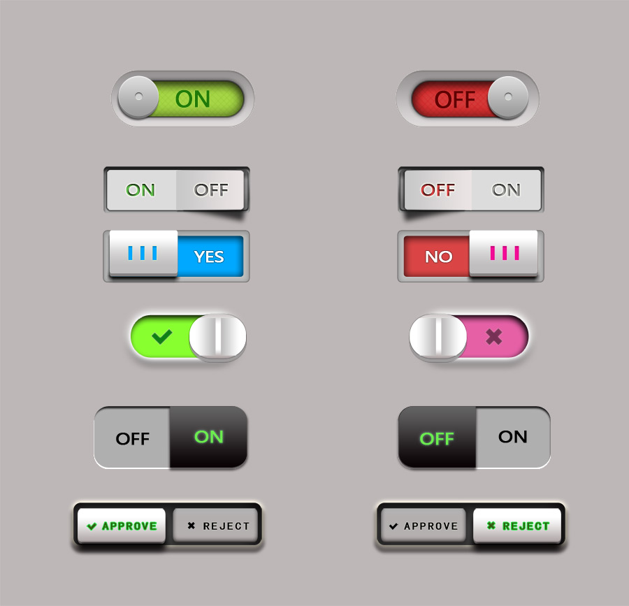 Multiple color stereo button PSD