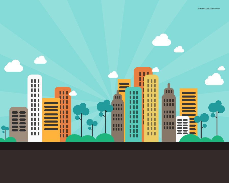 Flat Color Abstract City Background