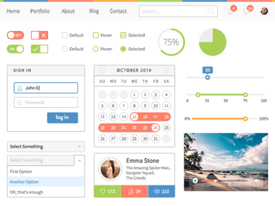 Colorful social network Web UI Elements