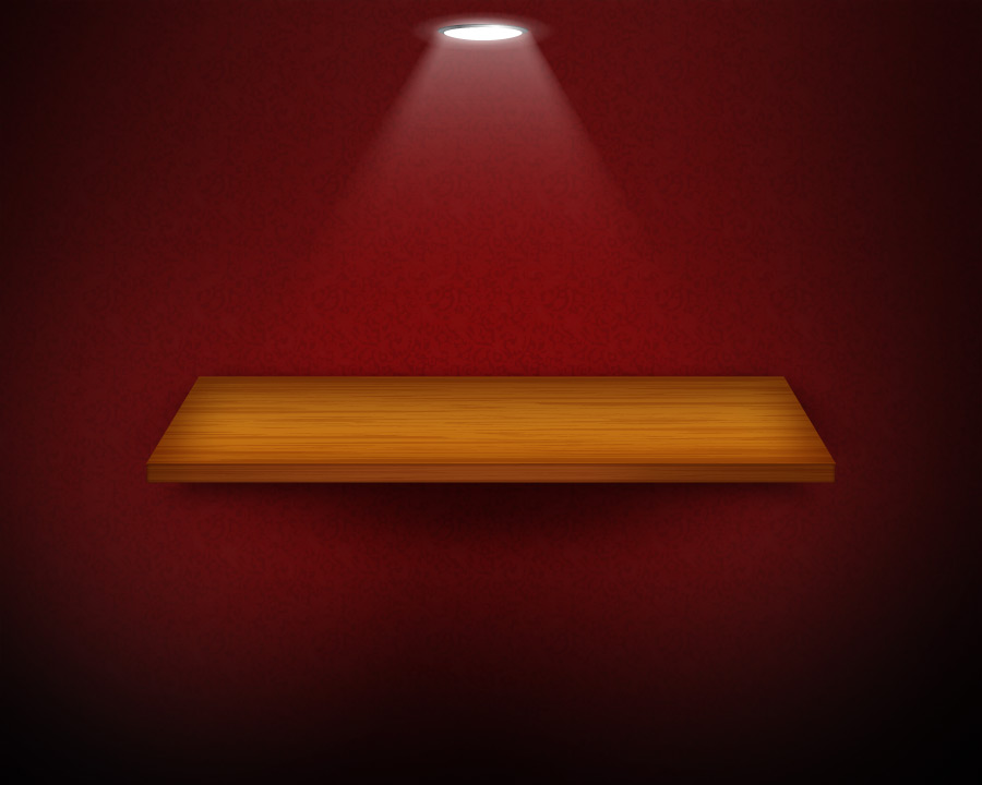3D suspended wooden grain empty shelf hanging on red wallpaper background