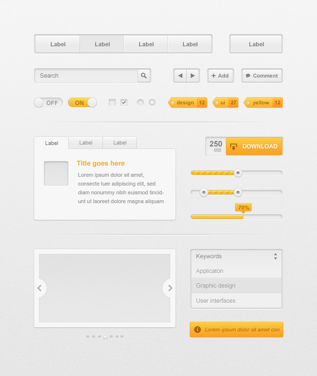 Gray Orange UI web element collection