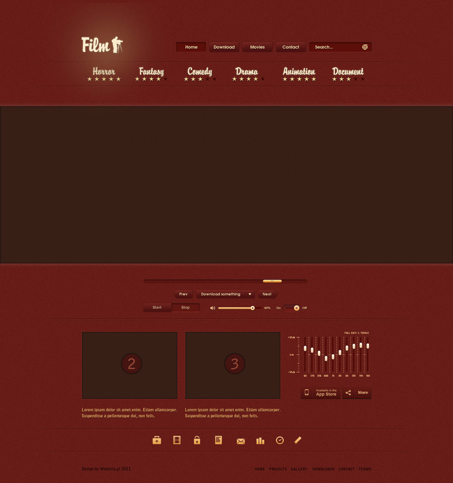Red Music website UI Material