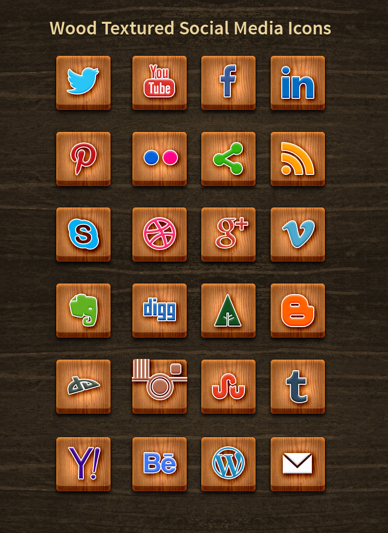 24 Best Wood Textured Social Media Icons