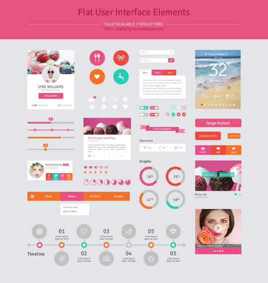 Social Flat User Interface Elements