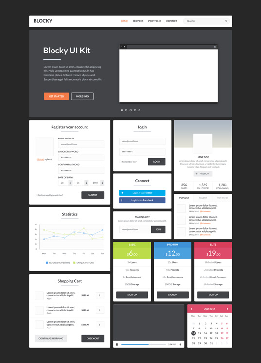 Blocky Flat UI Kit