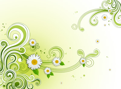 Green floral pattern background PSD
