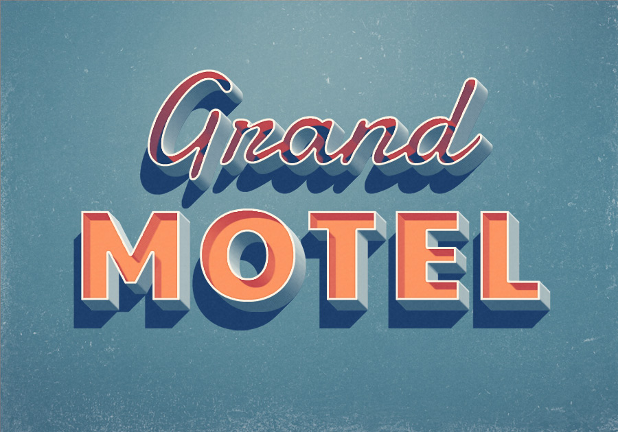 Grand Motel Text Effect - Free PSD Files, Photoshop