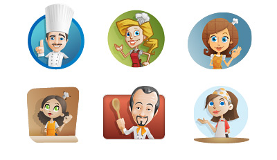 Chef vector illustration set