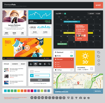 Colorful Flat Web UI PSD Kit
