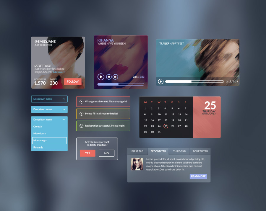 Colorful background blurred Iceberg UI Kit