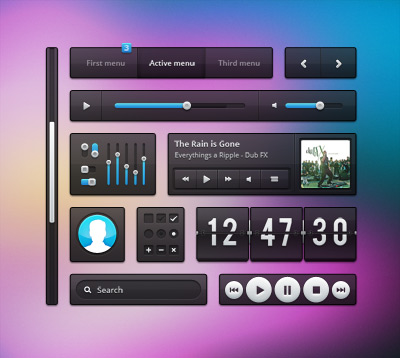 Dark Transparent UI Kit Psd File
