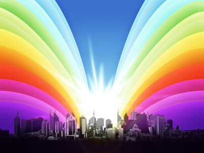 Colorful Rainbow Urban PSD Illustration