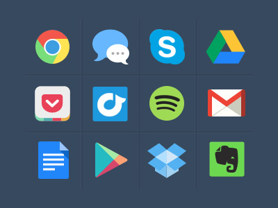 Colorful popular app icons