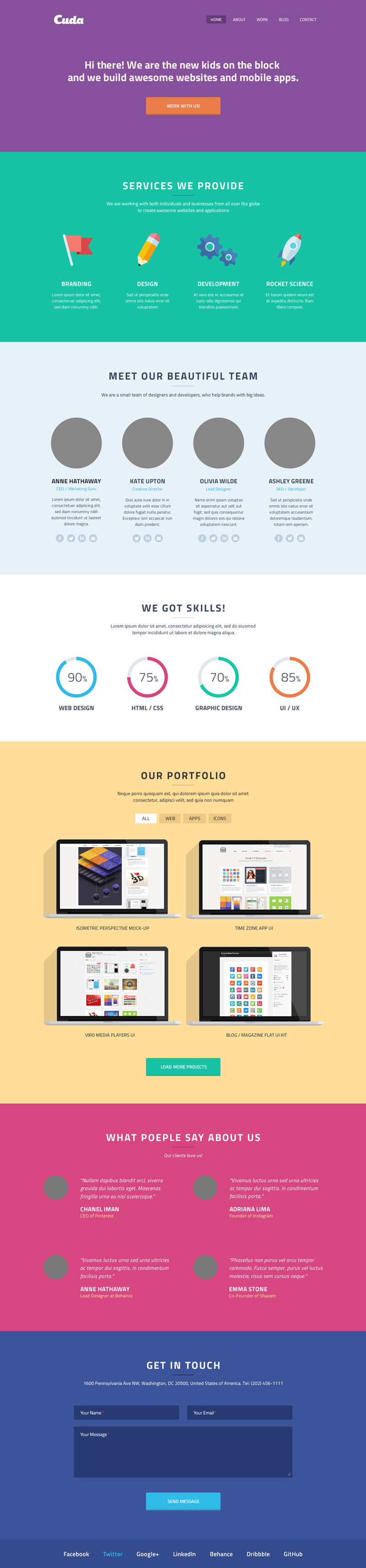 Single Page Portfolio Template Psd
