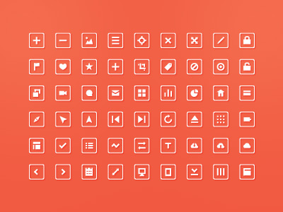 54 flat icons psd file