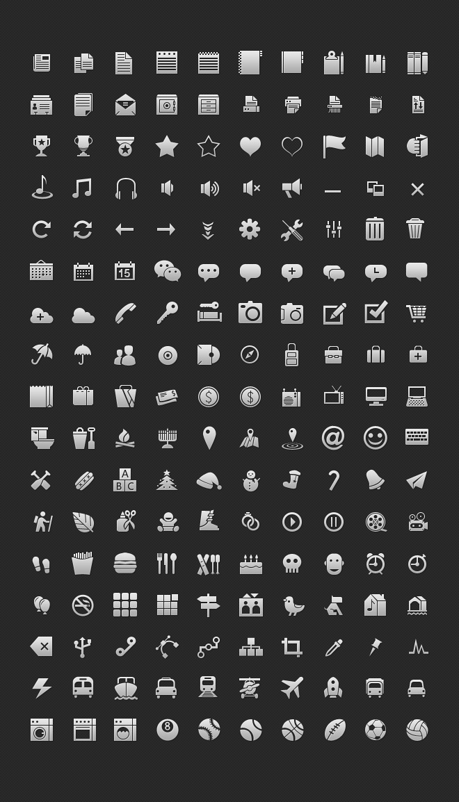 Texture glyph vector icons set psd