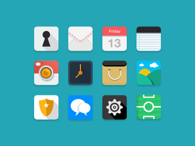 12 flat rounded iOS vector icons