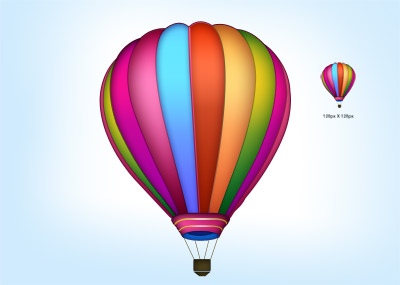 Colorful air balloon icon PSD file