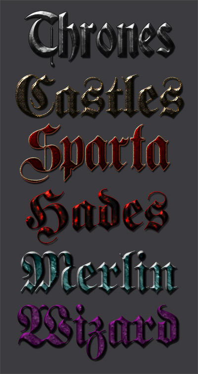 6 medieval font styles psd file