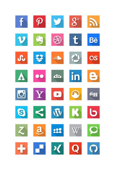 40 social media vector flat icons psd file
