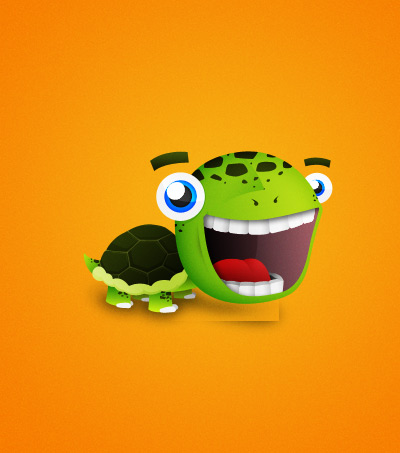 Comic turtle illustration psd file