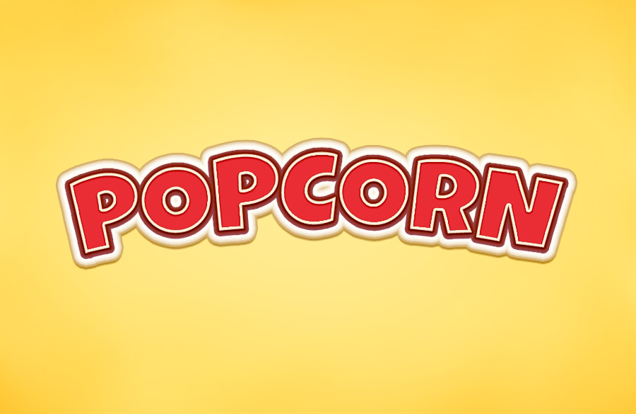 Popcorn Text Effect Psd Style