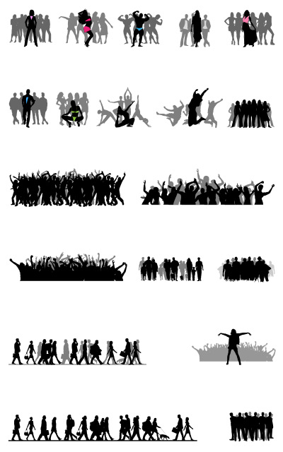 Crowd silhouettes vector set psd