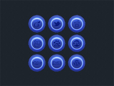 Blue gloss social icon set