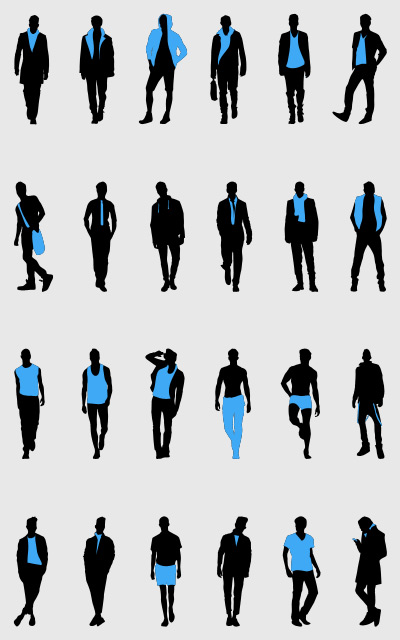 Fashion Men Silhouettes Set psd file