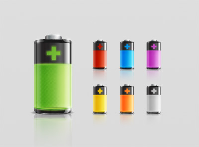 Battery vector icons psd