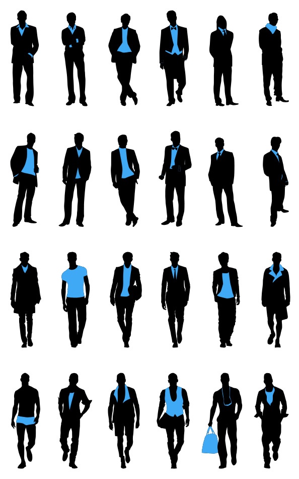 Fashion Men Silhouettes Set