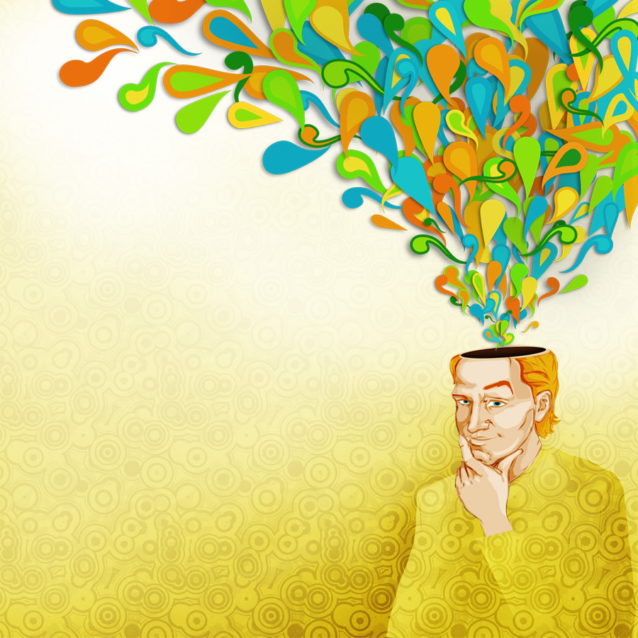 Colorful illustration of a young man thinking