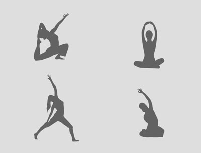 women yoga silhouettes set