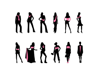 Fashion women silhouettes set vector psd