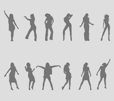 Dancing Girls Silhouettes Vector Set