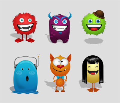 Monster creation vector kit psd
