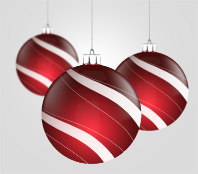 Hanging sphere decorations PSD graphics