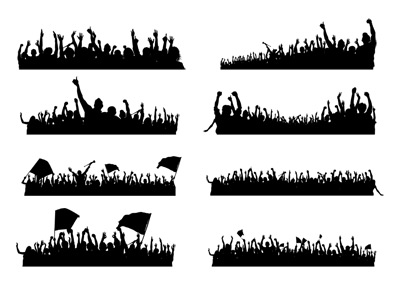 Happy Crowd Silhouettes Psd